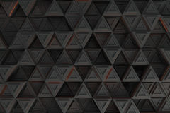 Pattern of grey triangle prisms with orange glowing lines Royalty Free Stock Photo