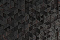 Pattern of grey triangle prisms with orange glowing lines Stock Photo