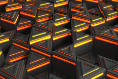 Pattern of grey triangle prisms with orange glowing lines Royalty Free Stock Images