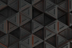 Pattern of grey triangle prisms with orange glowing lines Royalty Free Stock Photography