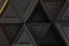 Pattern of grey triangle prisms with orange glowing lines Royalty Free Stock Photos