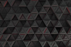 Pattern of grey triangle prisms with red glowing lines Royalty Free Stock Photo