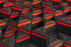 Pattern of grey triangle prisms with red glowing lines Royalty Free Stock Image