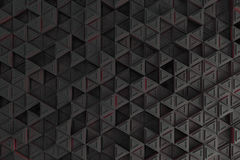 Pattern of grey triangle prisms with red glowing lines Royalty Free Stock Images