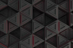 Pattern of grey triangle prisms with red glowing lines Stock Photo