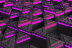 Pattern of grey triangle prisms with violet glowing lines Stock Photography