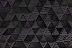 Pattern of grey triangle prisms with violet glowing lines Royalty Free Stock Images