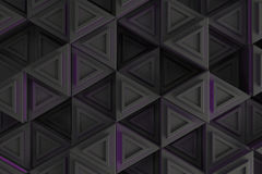 Pattern of grey triangle prisms with violet glowing lines Royalty Free Stock Photography