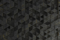 Pattern of grey triangle prisms with yellow glowing lines Stock Photography