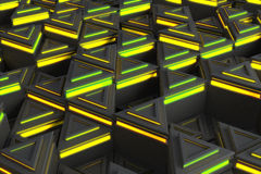 Pattern of grey triangle prisms with yellow glowing lines Stock Photos