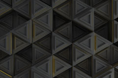 Pattern of grey triangle prisms with yellow glowing lines Stock Photo