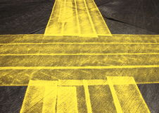 Pattern with grunge yellow cross painted on asphalt Royalty Free Stock Images