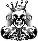 Pattern with guitar, skull, crown for concert advertisement. The vector illustration. Monochrome pattern with guitar, skull, crown for concert advertisement. The Royalty Free Stock Photography