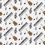 Pattern guitar synthesizer and notes. Instrumental artistic pattern with note music, vector illustration Royalty Free Stock Photography