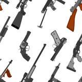 Pattern of guns. Machine gun, rifle, revolver, pistol, shotgun a Stock Image