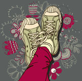 Pattern gym shoes Royalty Free Stock Images