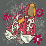 Pattern gym shoes Stock Images