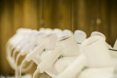 Pattern of Hair dryer in a swimming pool Changing room. stock photography
