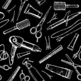 Pattern with hairdressers tools. Stock Photo