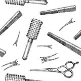 Pattern with hairdressers tools. Stock Image