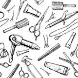 Pattern with hairdressers tools. Stock Photos