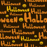 Pattern Halloween labels seamless texture on a brown background Stock Images