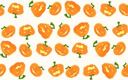 Pattern for Halloween with pumpkins and different emotions on them. A seamless pattern for holiday organization Halloween with pumpkins that smile, sad, angry Stock Image