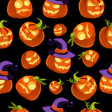 Pattern of Halloween Pumpkins in Witches Hat Stock Image