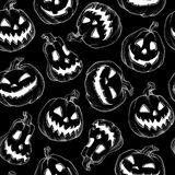 Pattern Halloween vector. Funny pumpkins. Decorating for the holidays on the black backgound Stock Photo