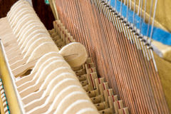 Pattern of hammers and strings inside piano Royalty Free Stock Photo