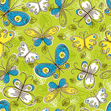Pattern of hand draw  butterflies, vector Royalty Free Stock Image