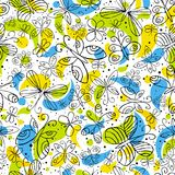 Pattern of hand draw butterflyies Stock Photos