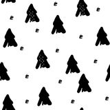 Pattern with hand draw fir-trees on white background. Stock Photo