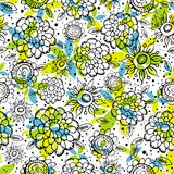 Pattern of hand draw  flowers Stock Image
