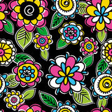 Pattern of hand draw  flowers Stock Photos