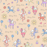 Pattern with hand drawn cartoon pegasus Royalty Free Stock Image