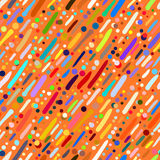Pattern with hand drawn colourful stripes. Vector seamless pattern with short hand drawn colourful diagonal strokes in multiple bright colors. Fun and positive royalty free illustration