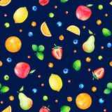 Pattern with hand drawn cute watercolor fruits and berries Stock Photography