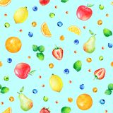 Pattern with hand drawn cute watercolor fruits and berries Royalty Free Stock Images
