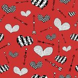 Pattern with hand drawn doodle hearts and arrows. Seamless pattern with abstract black-white hearts and arrows on a red background stock illustration