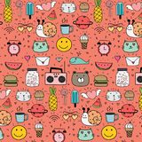 Pattern with hand drawn doodle lovely background. Doodle funny. Handmade vector illustration Royalty Free Stock Image