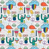 Pattern With Hand Drawn Doodle Lovely Background. Doodle Funny. royalty free illustration