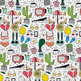 Pattern with hand drawn doodle lovely background. Doodle funny. Handmade vector illustration Stock Photo