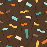 Pattern with hand drawn flags. Multicolor pennants background Stock Photos