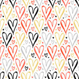 Pattern with hand drawn hearts Stock Images