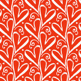 Pattern with hand drawn hearts Stock Photo