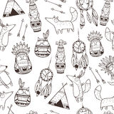Pattern with hand drawn indian elements Stock Image