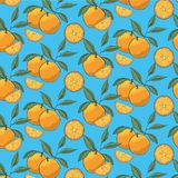 Hand drawn oranges slices pattern with leaves isolated on blue background. vector illustration