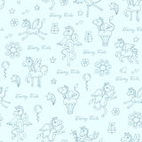 Pattern with hand drawn pegasus on blue color Stock Photos