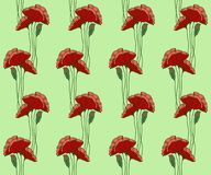 Pattern with hand drawn poppies, stained glass style royalty free illustration